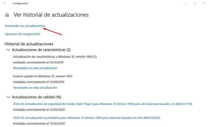 desinstalar actualizaciones de Windows 10
