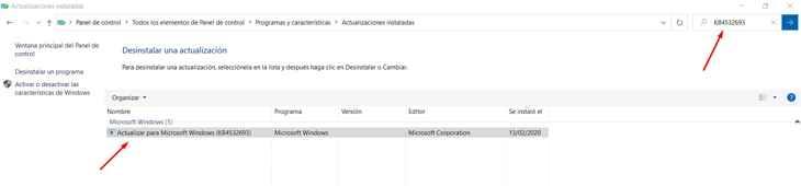 desinstalar una actualización de Windows 10