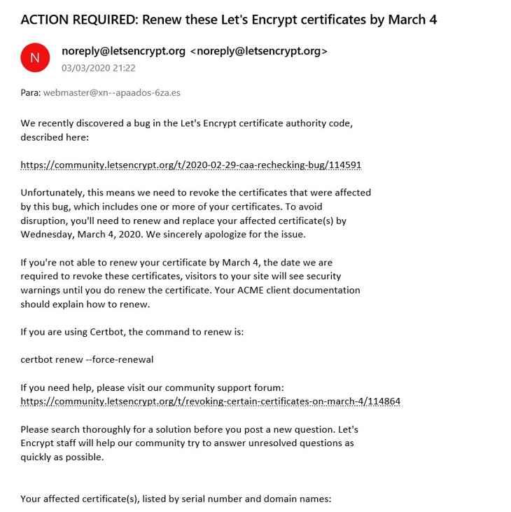 email de Let's Encrypt