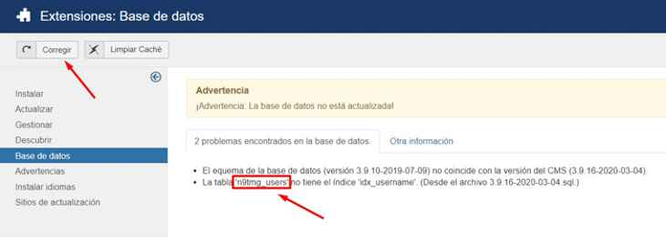 error en la base de datos de Joomla