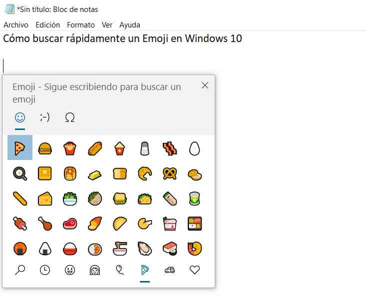 Panel de Emoji en Windows 10