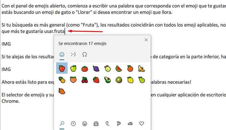 Panel de Emoji en Windows 10, fruta