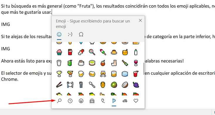 Panel de Emoji en Windows 10, lupa