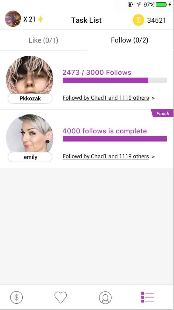GetInsta, progreso de seguidores