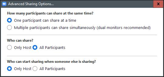 permitir compartir pantalla en Zoom a todos los participantes
