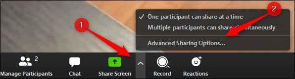 opciones avanzadas de compartir pantalla en Zoom