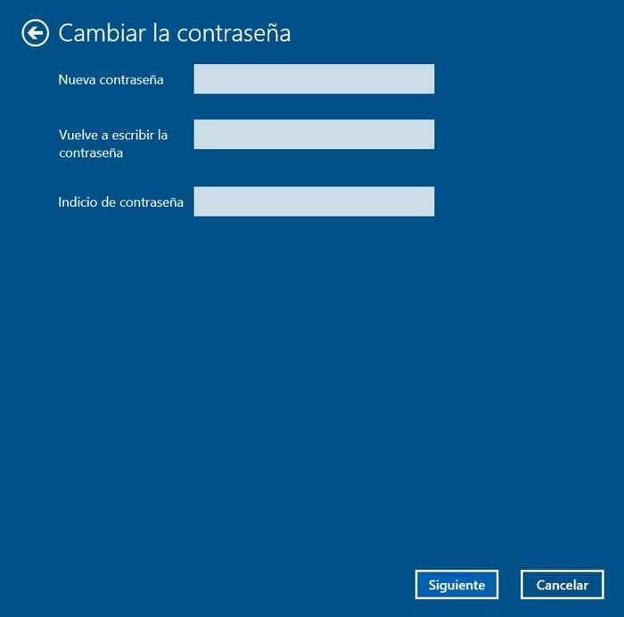 cambiar contraseña en Windows 10