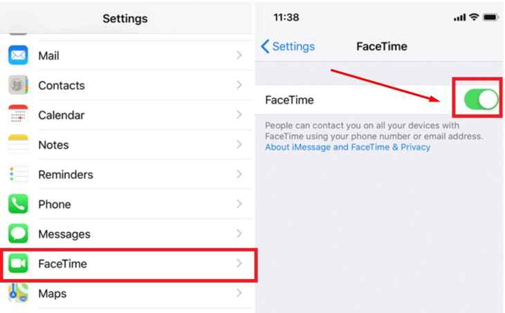 desactivar FaceTime en un iPhone