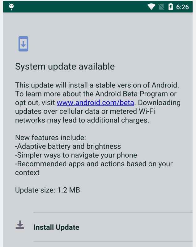falsa actualización de Android