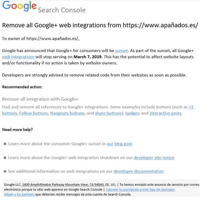 email aviso quitar códigos Google+ integrados