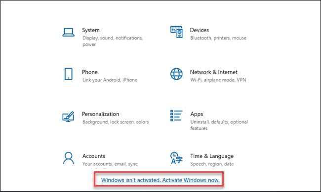 activar Windows desde Configuración
