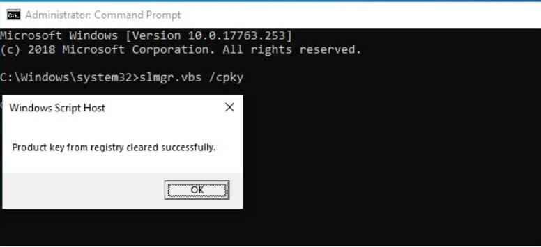 borrado clave de producto de Windows 10