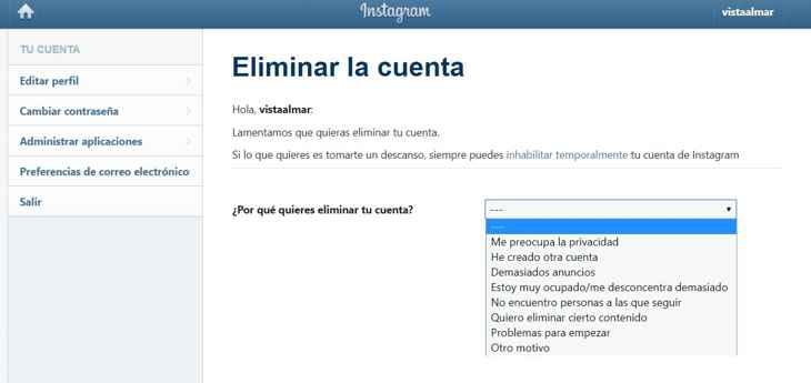 Eliminar cuenta de Instagram, motivos