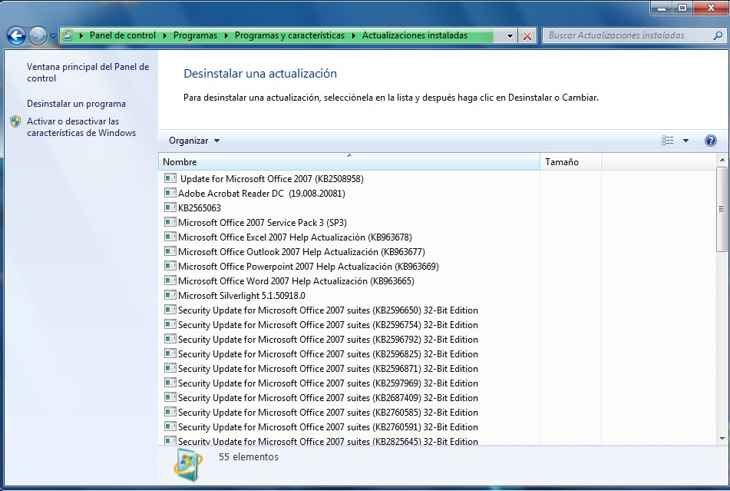 actualizaciones de Windows 7 instaladas