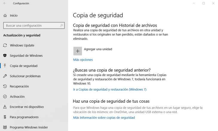copia seguridad en Windows 10