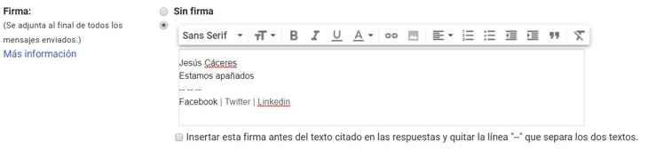Gmail configuración firma, detalle