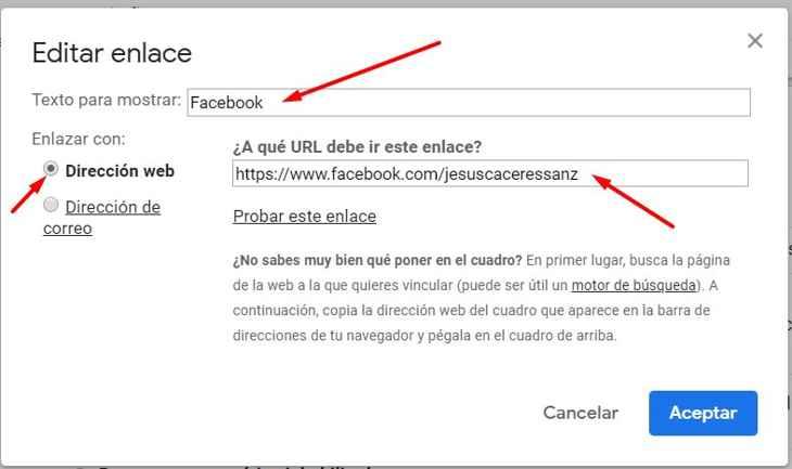 Gmail configuración firma, editar enlace