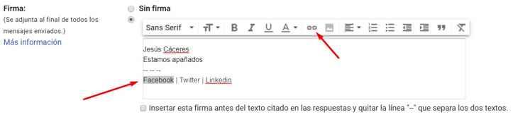 Gmail configuración firma, elegir enlace