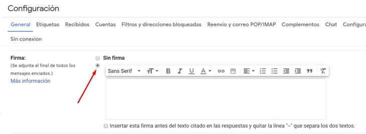 Gmail configuración, firma
