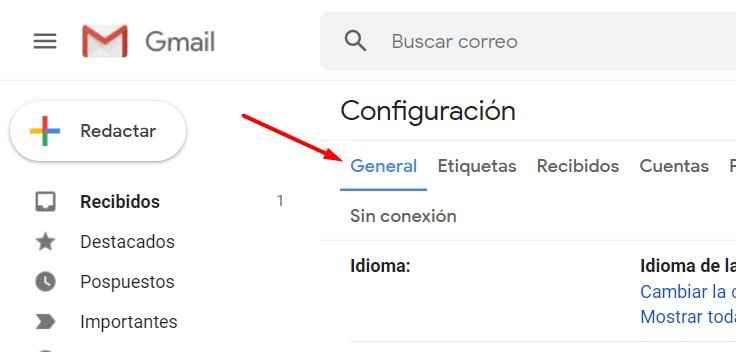 Gmail configuración, pestaña general