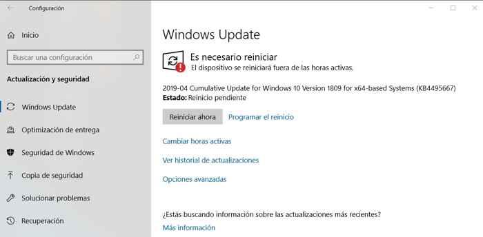 actualización pendiente de Window 10