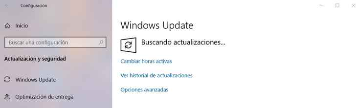 buscando actualizaciones en Windows 10