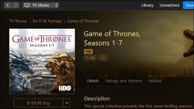 comprar episodios de Juego de Tronos