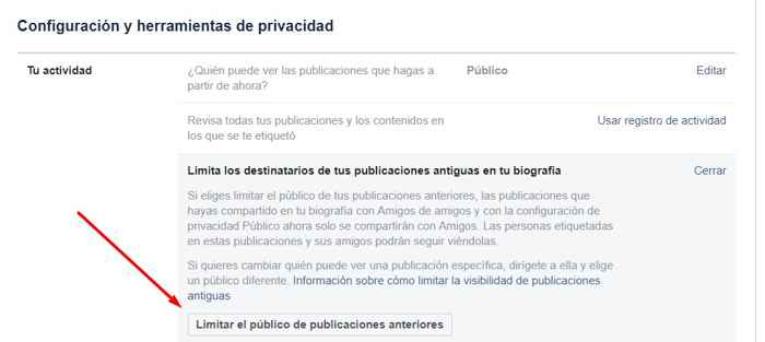 Facebook limitar el público