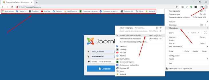 mostrar barra de marcadores en Chrome