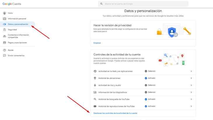 controles de actividad en la cuenta de Google