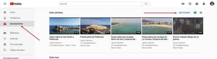 gestionar suscripción en Youtube