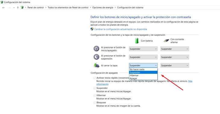 inicio o apagado en Windows 10, detalle