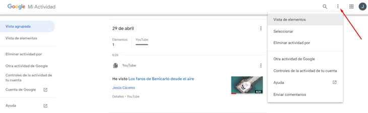 detalle de mi actividad en la cuenta de Google