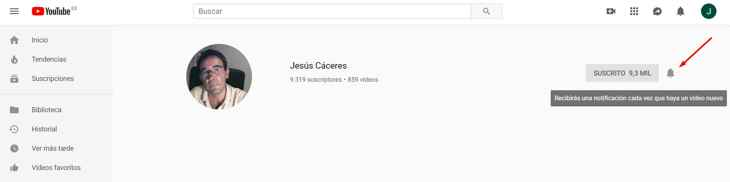 notificaciones de la suscripción de Youtube