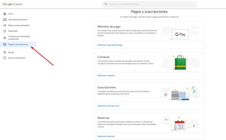 pagos y suscripciones en Google