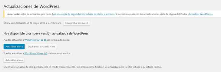 Wordpress actualizaciones