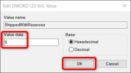 cambiar valor en el editor de registro