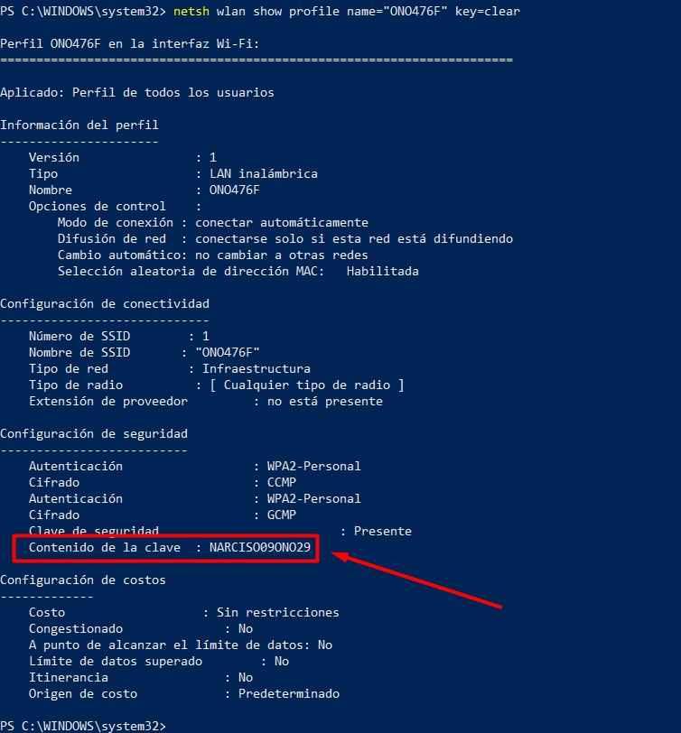 clave de un red wi-fi en Windows 10