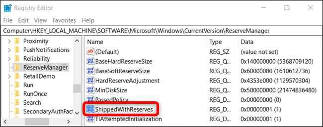editor de registro en Windows 10