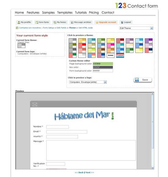 Formulario contacto colores y vista previa