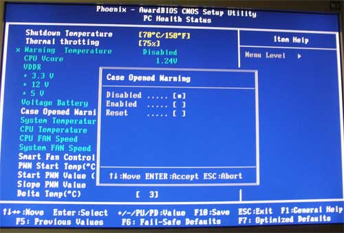 BIOS, Case Opened Warning - disabled