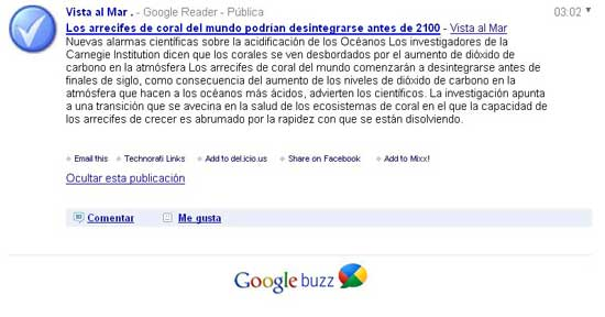 Google Buzz con URL de FeedBurner