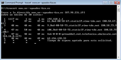 Comando tracert en windows