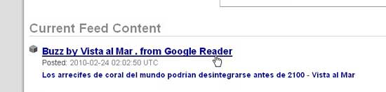 Enlace URL Feed Google Buzz