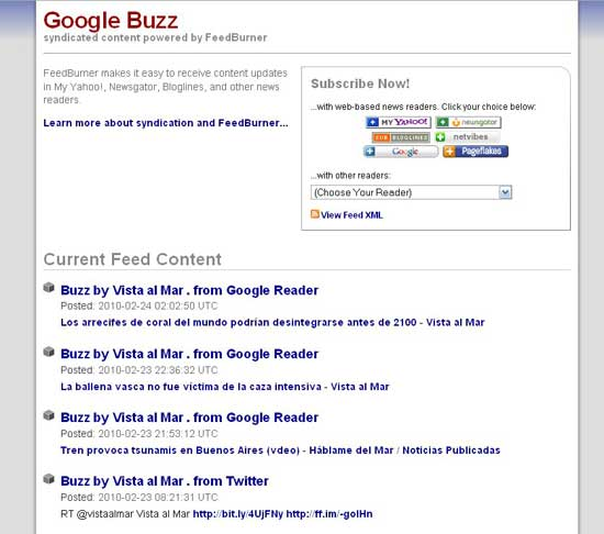 FeedBurner Feed Vista al Mar Google Buzz