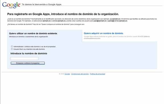 Google Apps nombre de dominio