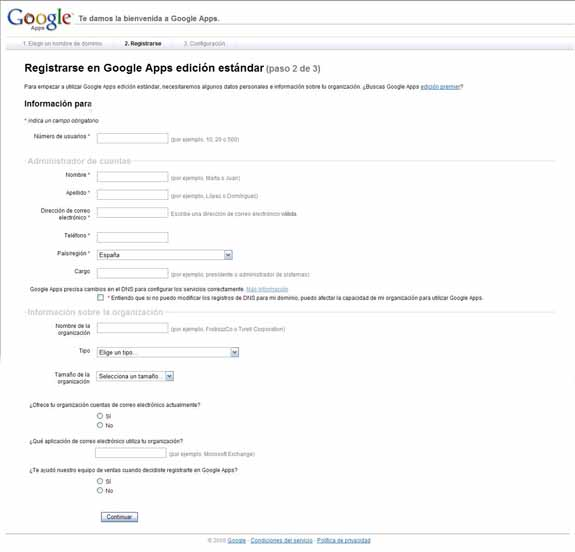 Google Apps registro
