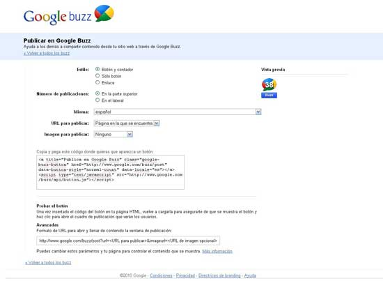 Google Buzz botón para post