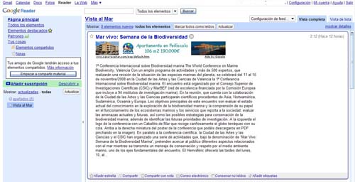Feed de Vista al Mar en Google Reader
