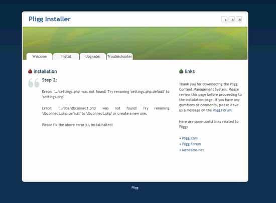 pligg instalación, error conexión a la base de datos
